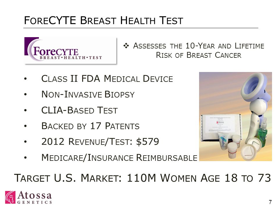 7 F ORE CYTE B REAST H EALTH T EST C LASS II FDA M EDICAL D EVICE N ON -I NVASIVE B IOPSY CLIA-B ASED T EST B ACKED BY 17 P ATENTS 2012 R EVENUE /T EST : $579 M EDICARE /I NSURANCE R EIMBURSABLE T ARGET U.S.