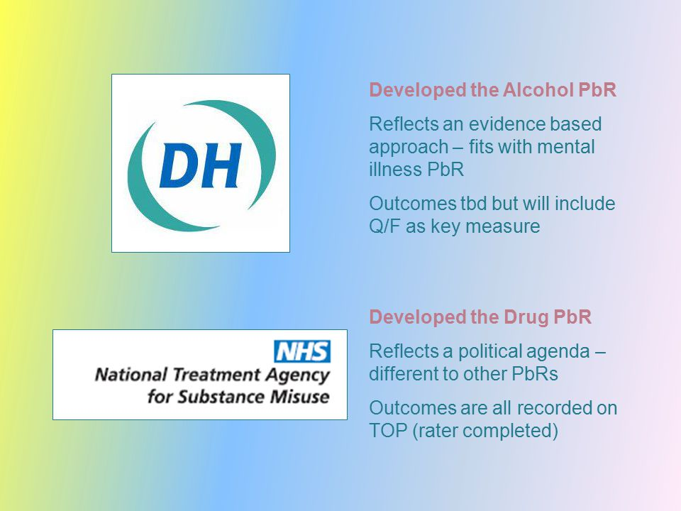 Developed the Alcohol PbR Reflects an evidence based approach – fits with mental illness PbR Outcomes tbd but will include Q/F as key measure Developed the Drug PbR Reflects a political agenda – different to other PbRs Outcomes are all recorded on TOP (rater completed)