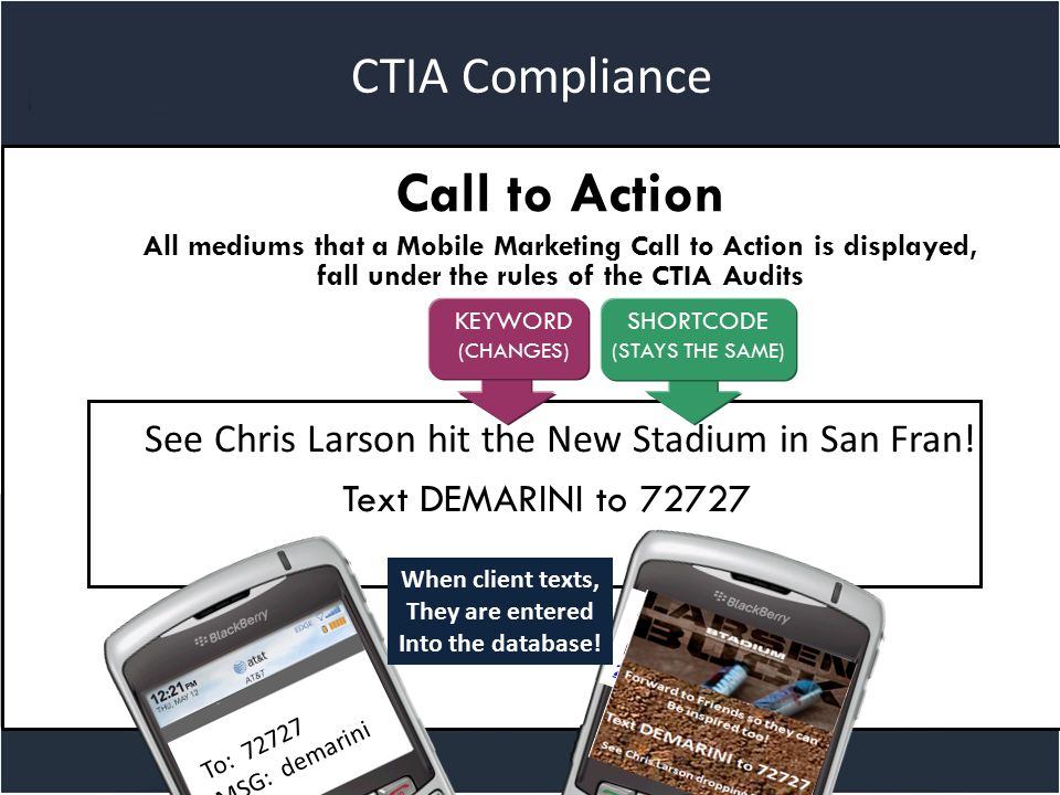 Title slide CTIA Compliance Call to Action All mediums that a Mobile Marketing Call to Action is displayed, fall under the rules of the CTIA Audits See Chris Larson hit the New Stadium in San Fran.