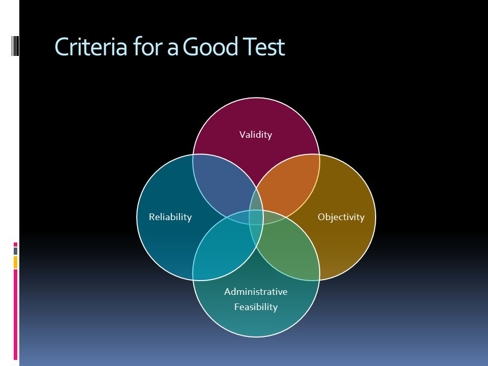 Criteria for a Good Test Validity Objectivity Administrative Feasibility Reliability