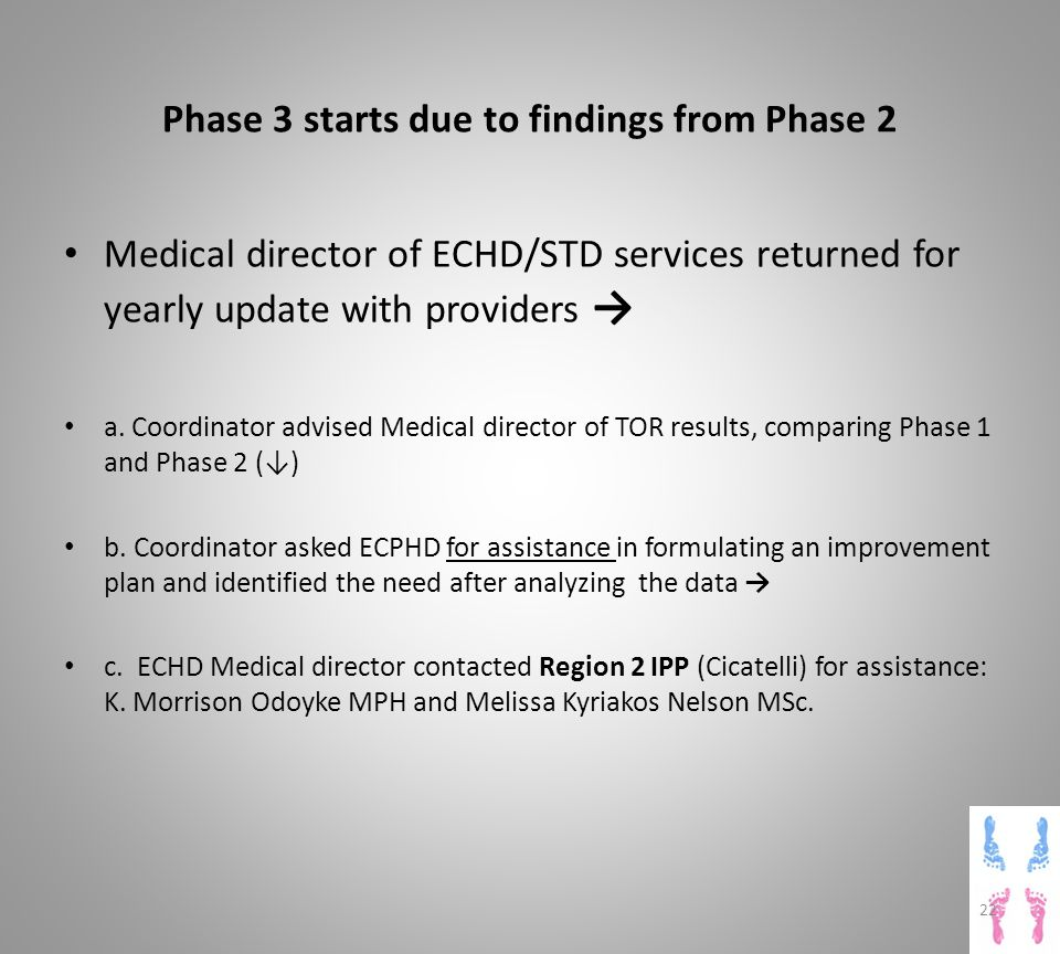 Phase 3 starts due to findings from Phase 2 Medical director of ECHD/STD services returned for yearly update with providers → a.