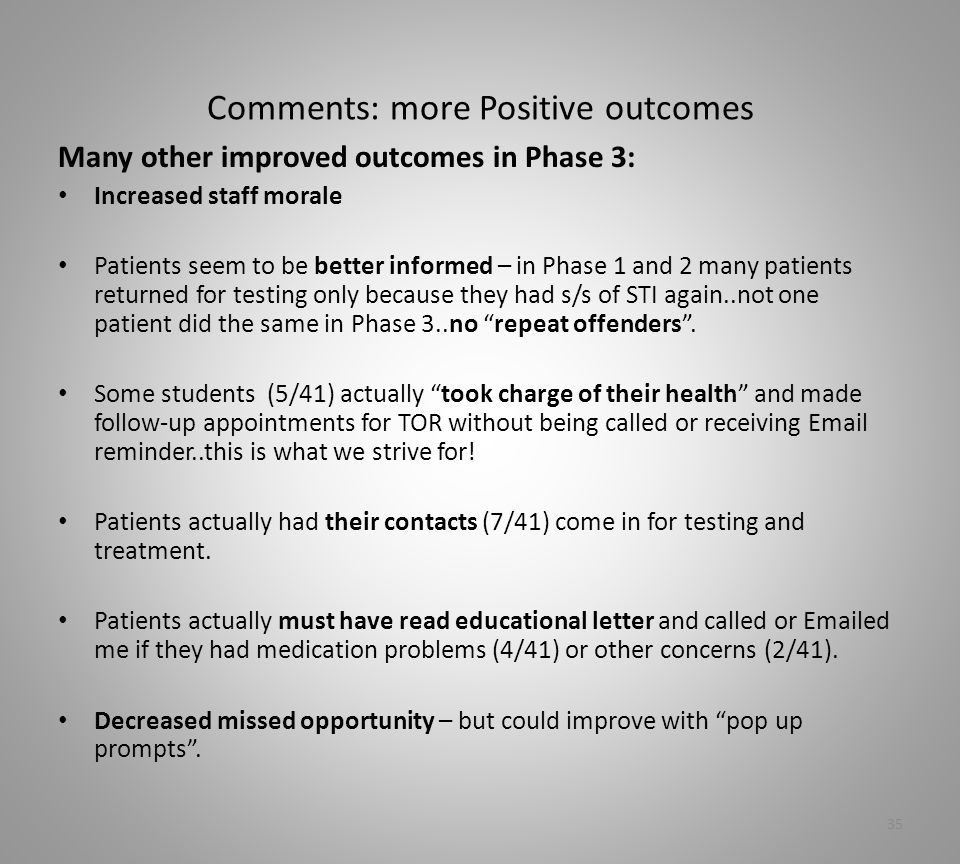 Comments: more Positive outcomes Many other improved outcomes in Phase 3: Increased staff morale Patients seem to be better informed – in Phase 1 and 2 many patients returned for testing only because they had s/s of STI again..not one patient did the same in Phase 3..no repeat offenders .