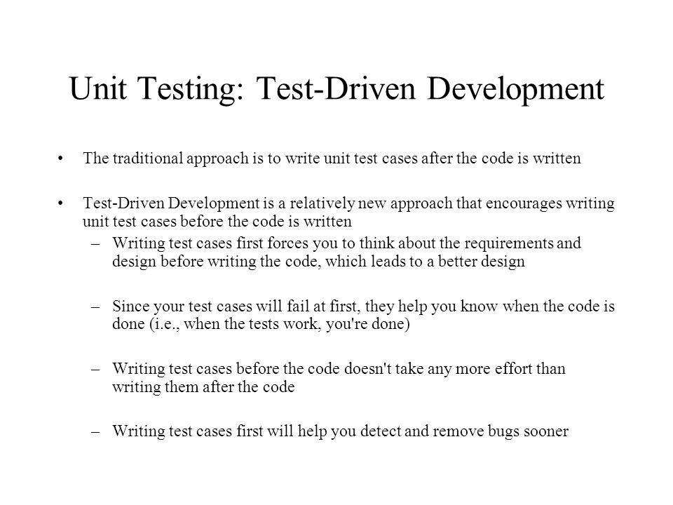Unit Testing: Using stubs and drivers to isolate the class under unit test Driver Stub Class to Test cases Results