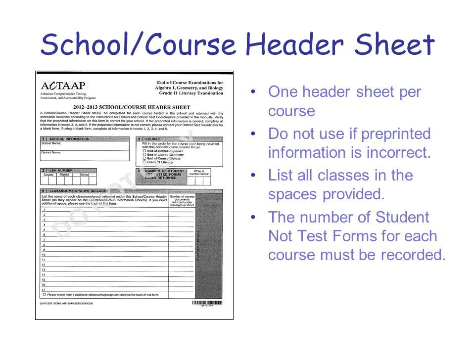 School/Course Header Sheet One header sheet per course Do not use if preprinted information is incorrect.