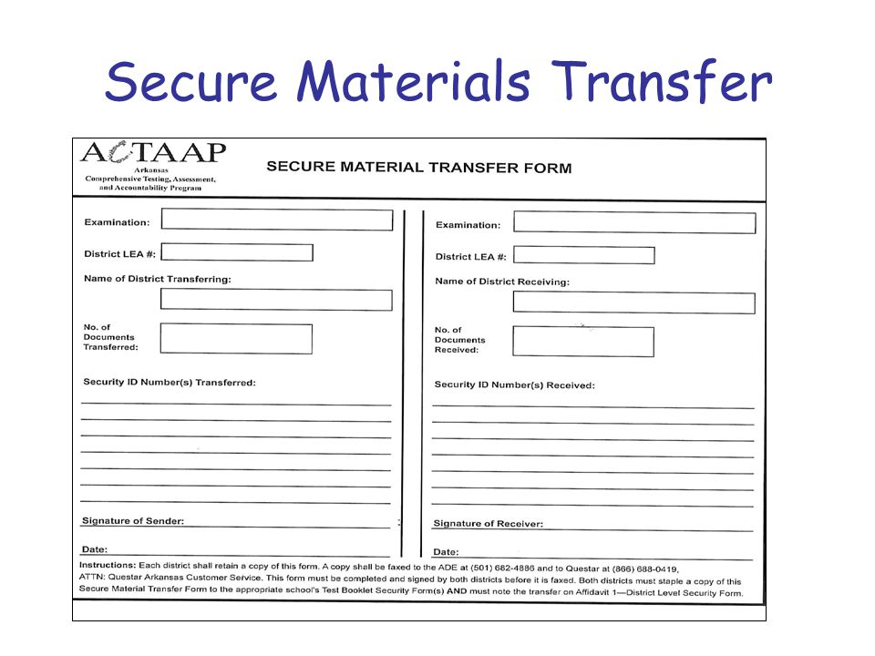 Secure Materials Transfer