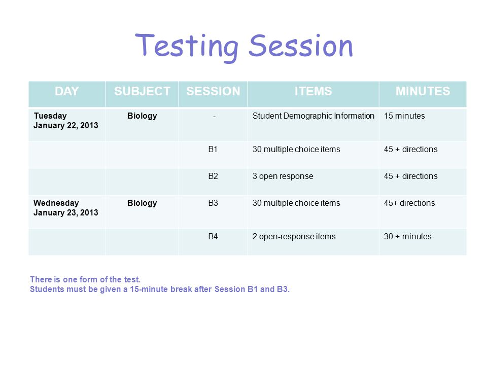 Testing Session DAYSUBJECTSESSIONITEMSMINUTES Tuesday January 22, 2013 Biology -Student Demographic Information15 minutes B130 multiple choice items45 + directions B23 open response45 + directions Wednesday January 23, 2013 BiologyB330 multiple choice items45+ directions B42 open-response items30 + minutes There is one form of the test.