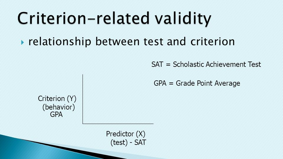  relationship between test and criterion Criterion (Y) (behavior) Predictor (X) (test) - SAT GPA SAT = Scholastic Achievement Test GPA = Grade Point Average