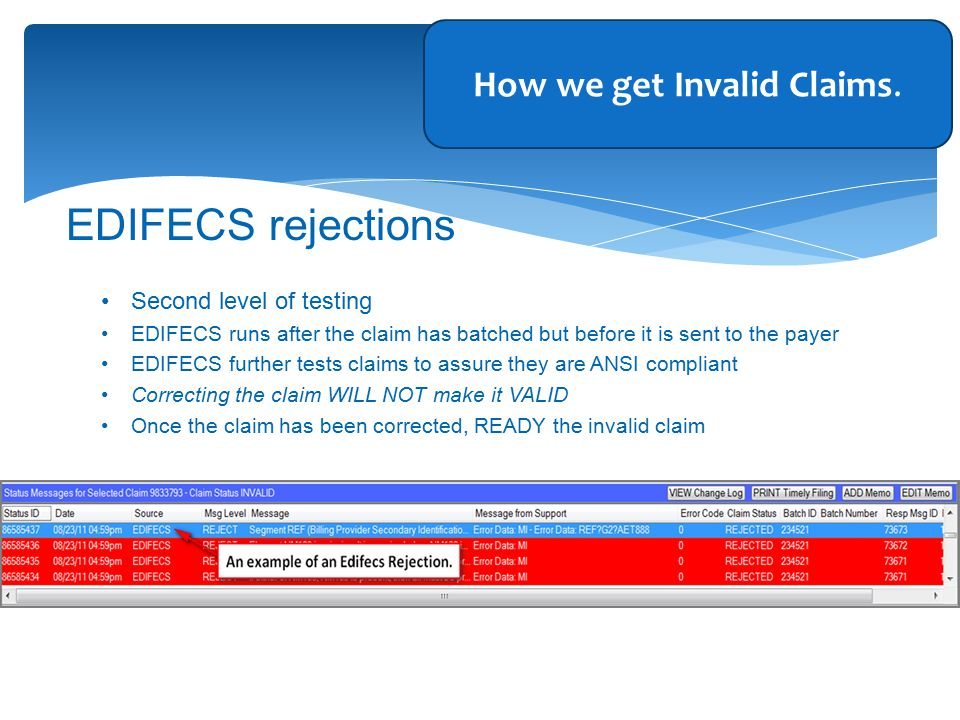Second level of testing EDIFECS runs after the claim has batched but before it is sent to the payer EDIFECS further tests claims to assure they are ANSI compliant Correcting the claim WILL NOT make it VALID Once the claim has been corrected, READY the invalid claim EDIFECS rejections How we get Invalid Claims.