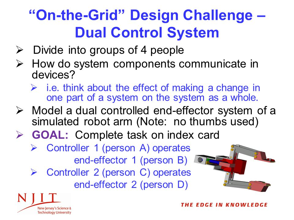 On-the-Grid Design Challenge – Dual Control System  Divide into groups of 4 people  How do system components communicate in devices.