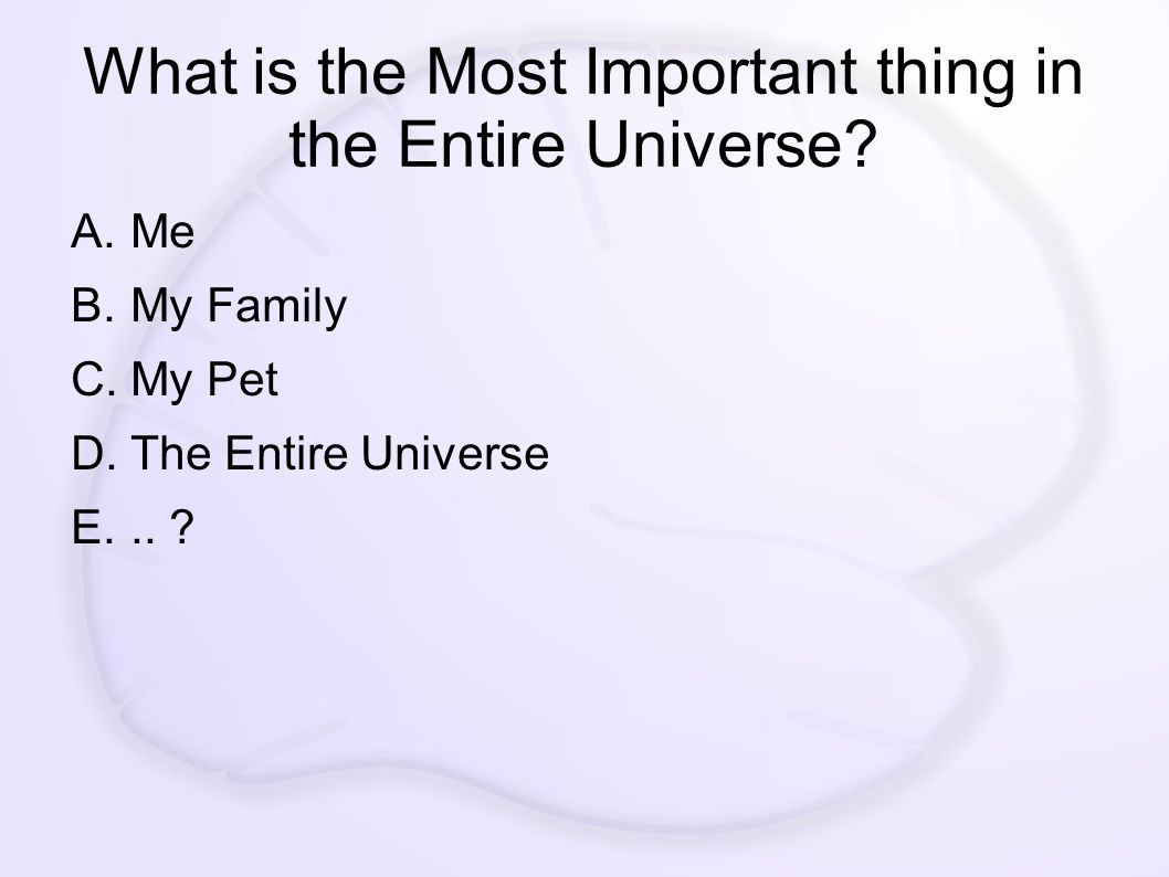 What is the Most Important thing in the Entire Universe.