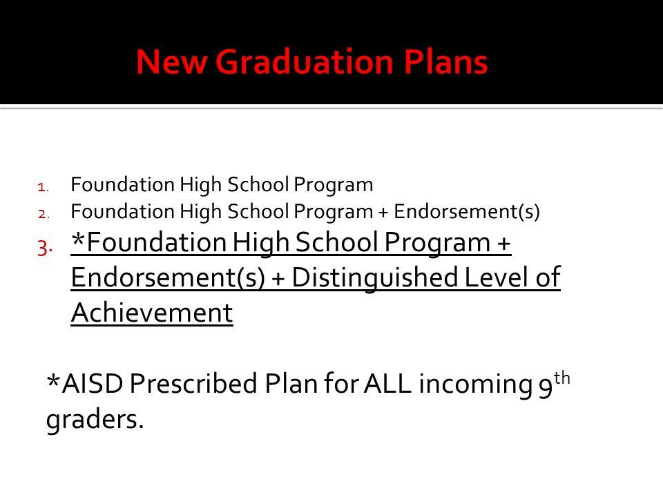1. Foundation High School Program 2. Foundation High School Program + Endorsement(s) 3. *Foundation High School Program + Endorsement(s) + Distinguish
