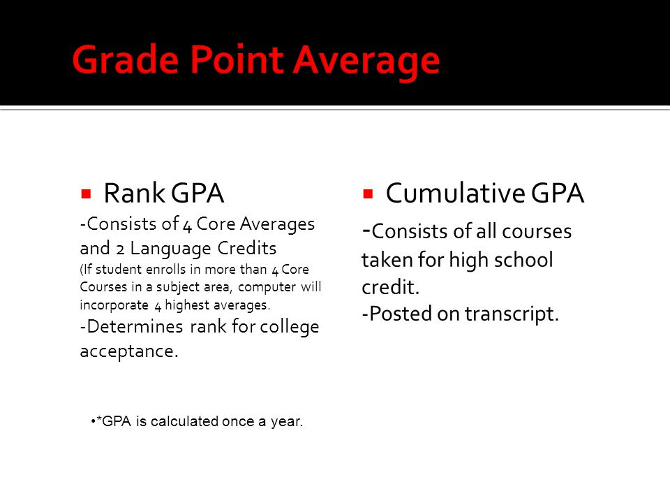  Rank GPA -Consists of 4 Core Averages and 2 Language Credits (If student enrolls in more than 4 Core Courses in a subject area, computer will incorporate 4 highest averages.