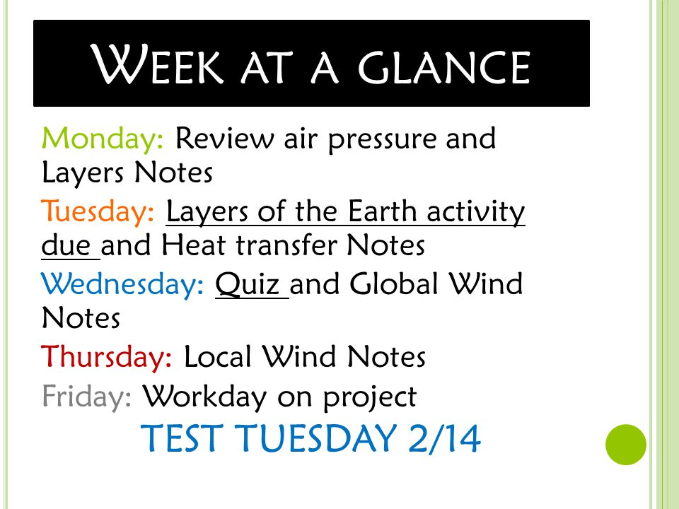 W EEK AT A GLANCE Monday: Review air pressure and Layers Notes Tuesday: Layers of the Earth activity due and Heat transfer Notes Wednesday: Quiz and Global Wind Notes Thursday: Local Wind Notes Friday: Workday on project TEST TUESDAY 2/14