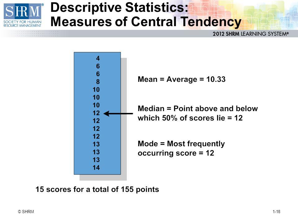 Descriptive Statistics: Measures of Central Tendency 1-18© SHRM