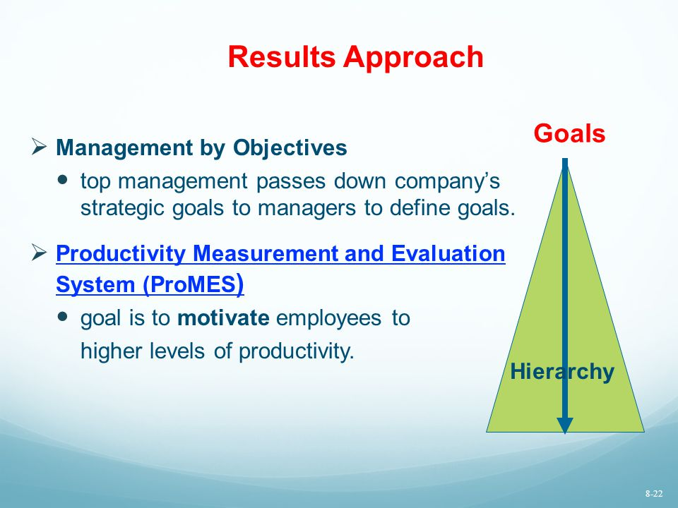 Results Approach  Management by Objectives top management passes down company's strategic goals to managers to define goals.  Productivity Measureme