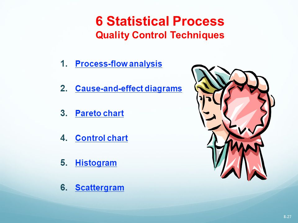 6 Statistical Process Quality Control Techniques 1. Process-flow analysis Process-flow analysis 2. Cause-and-effect diagrams Cause-and-effect diagrams