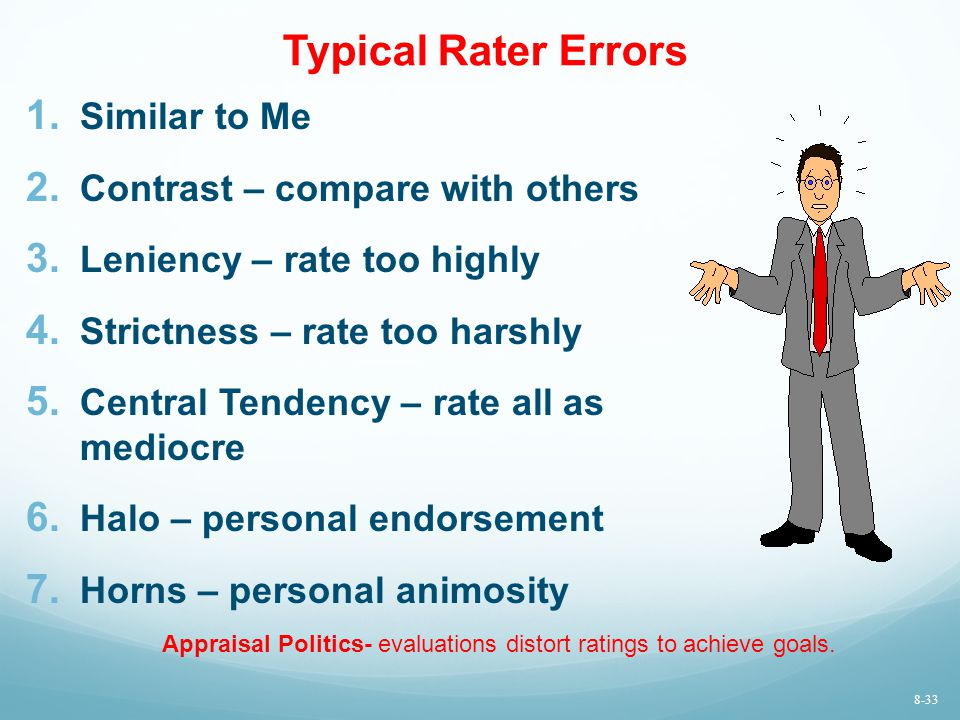 Typical Rater Errors 1. Similar to Me 2. Contrast – compare with others 3. Leniency – rate too highly 4. Strictness – rate too harshly 5. Central Tend