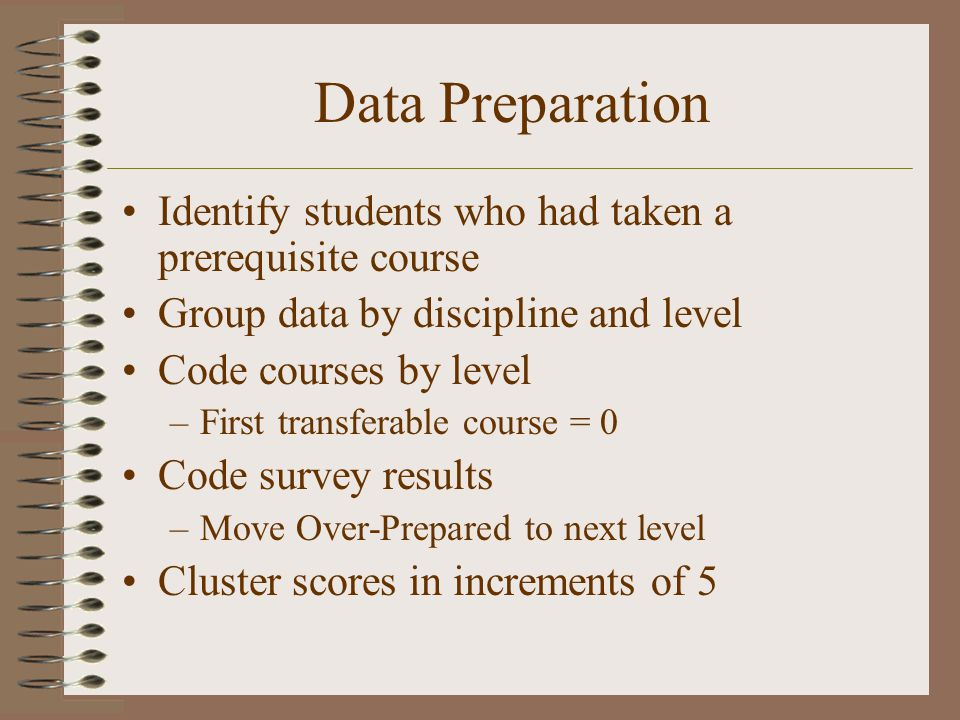 Data Preparation Identify students who had taken a prerequisite course Group data by discipline and level Code courses by level –First transferable course = 0 Code survey results –Move Over-Prepared to next level Cluster scores in increments of 5
