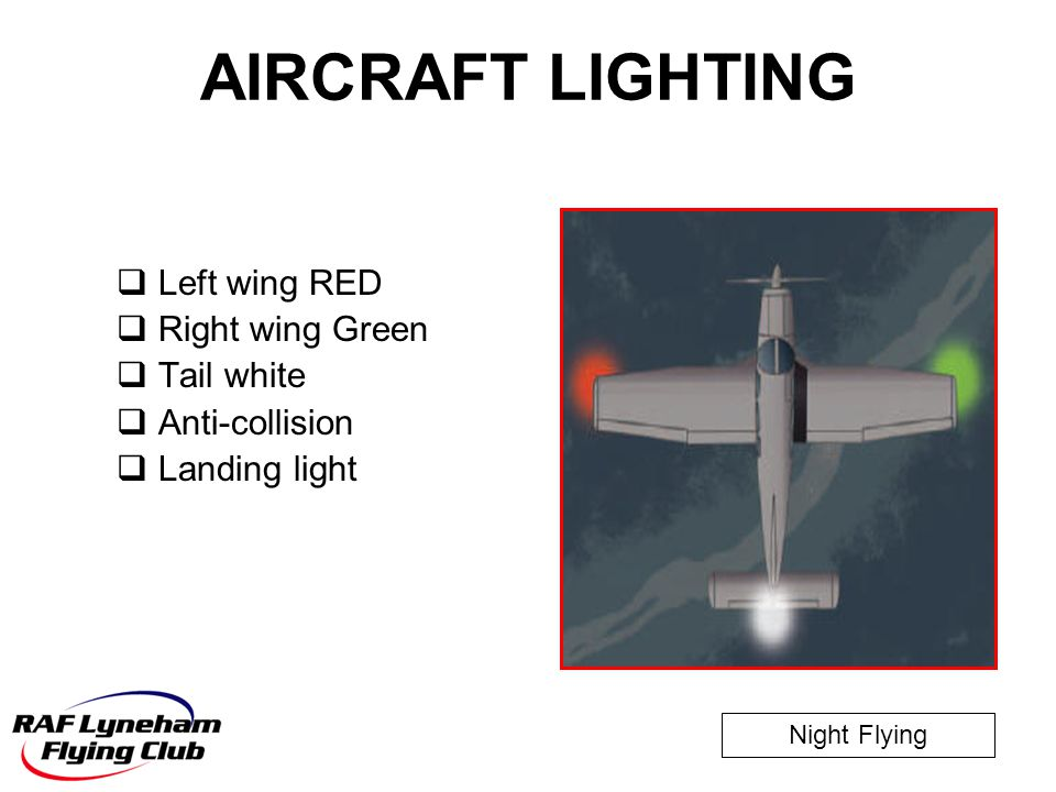 Night Flying AIRCRAFT LIGHTING  Left wing RED  Right wing Green  Tail white  Anti-collision  Landing light
