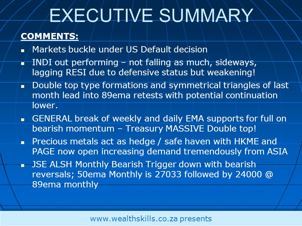 EXECUTIVE SUMMARY COMMENTS: Markets buckle under US Default decision INDI out performing – not falling as much, sideways, lagging RESI due to defensive status but weakening.