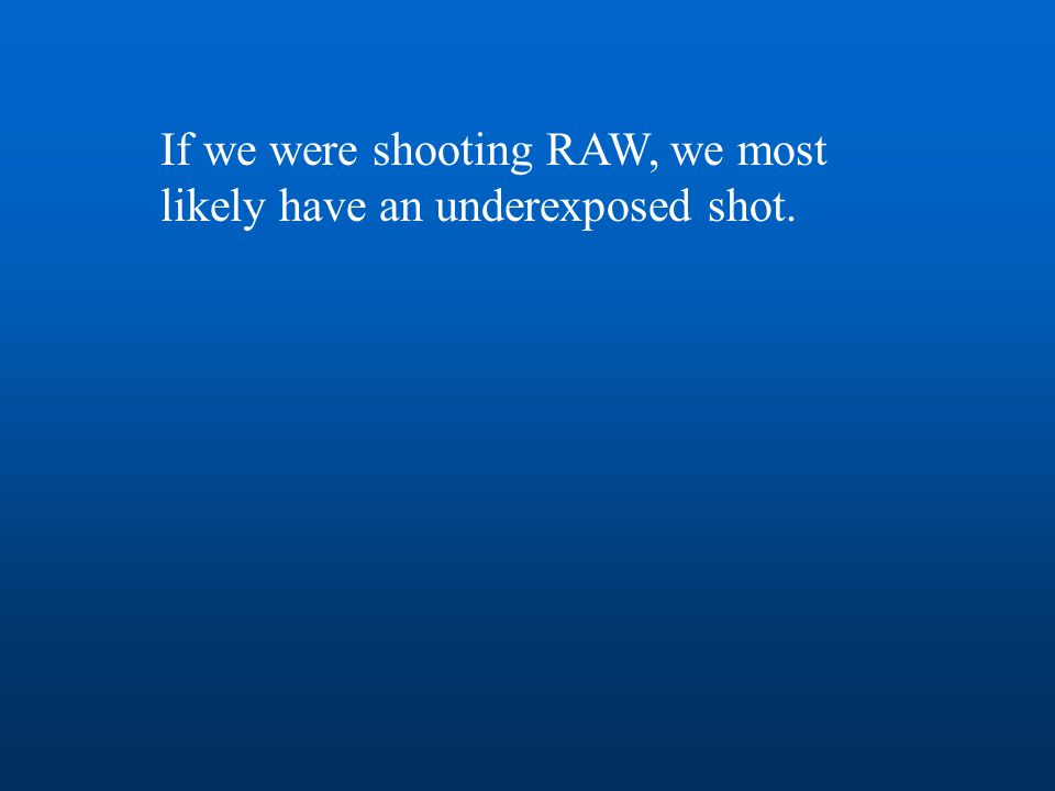 If we were shooting RAW, we most likely have an underexposed shot.