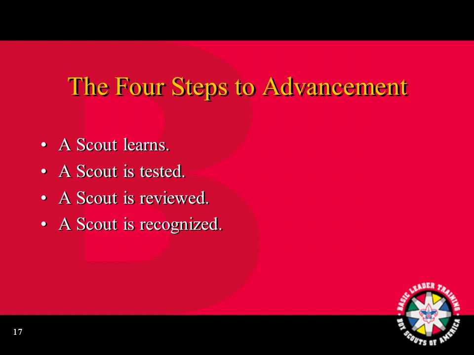 17 The Four Steps to Advancement A Scout learns.A Scout is tested.