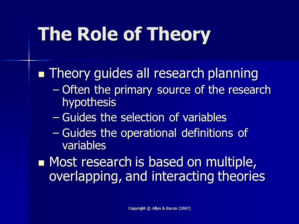 Copyright © Allyn & Bacon (2007) The Role of Theory Theory guides all research planning Theory guides all research planning –Often the primary source of the research hypothesis –Guides the selection of variables –Guides the operational definitions of variables Most research is based on multiple, overlapping, and interacting theories Most research is based on multiple, overlapping, and interacting theories