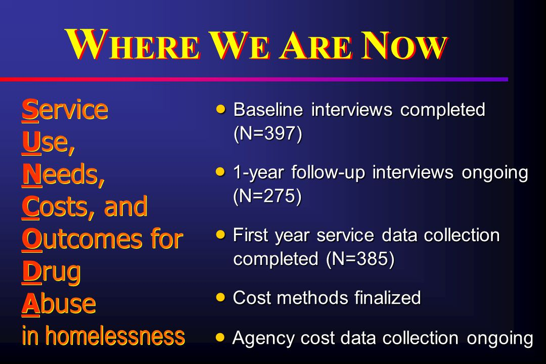  Baseline interviews completed (N=397) Service Use, Needs, Costs, and Outcomes for Drug Abuse in homelessness Service Use, Needs, Costs, and Outcomes for Drug Abuse in homelessness W HERE W E A RE N OW  1-year follow-up interviews ongoing (N=275)  First year service data collection completed (N=385)  Cost methods finalized  Agency cost data collection ongoing