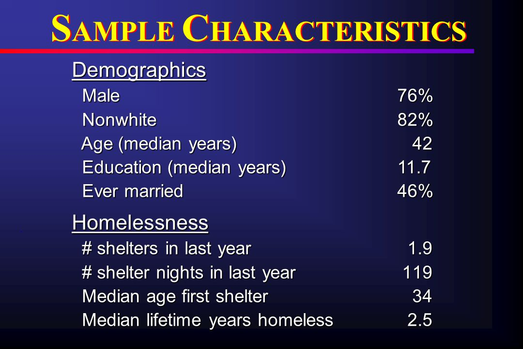 Demographics Male76% Male76% Nonwhite 82% Nonwhite 82% Age (median years) 42 Age (median years) 42 Education (median years) 11.7 Education (median years) 11.7 Ever married 46% Ever married 46% S AMPLE C HARACTERISTICS Homelessness # shelters in last year 1.9 # shelters in last year 1.9 # shelter nights in last year 119 # shelter nights in last year 119 Median age first shelter 34 Median age first shelter 34 Median lifetime years homeless 2.5 Median lifetime years homeless 2.5.
