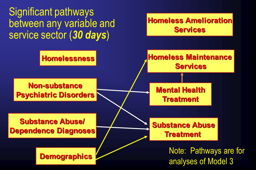 Homelessness Non-substance Psychiatric Disorders Substance Abuse/ Dependence Diagnoses Demographics Significant pathways between any variable and service sector ( 30 days ) Note: Pathways are for analyses of Model 3 Homeless Amelioration Services Homeless Maintenance Services Mental Health Treatment Substance Abuse Treatment