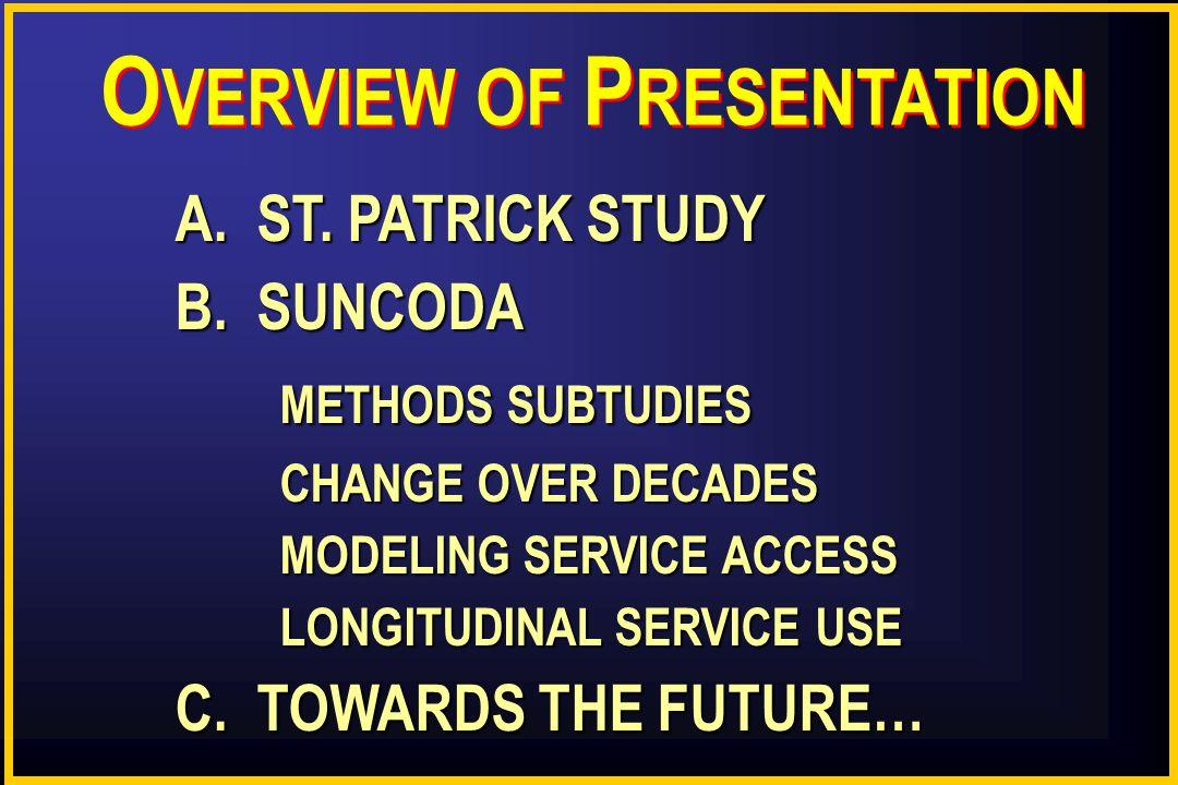 O VERVIEW OF P RESENTATION A. ST. PATRICK STUDY B.