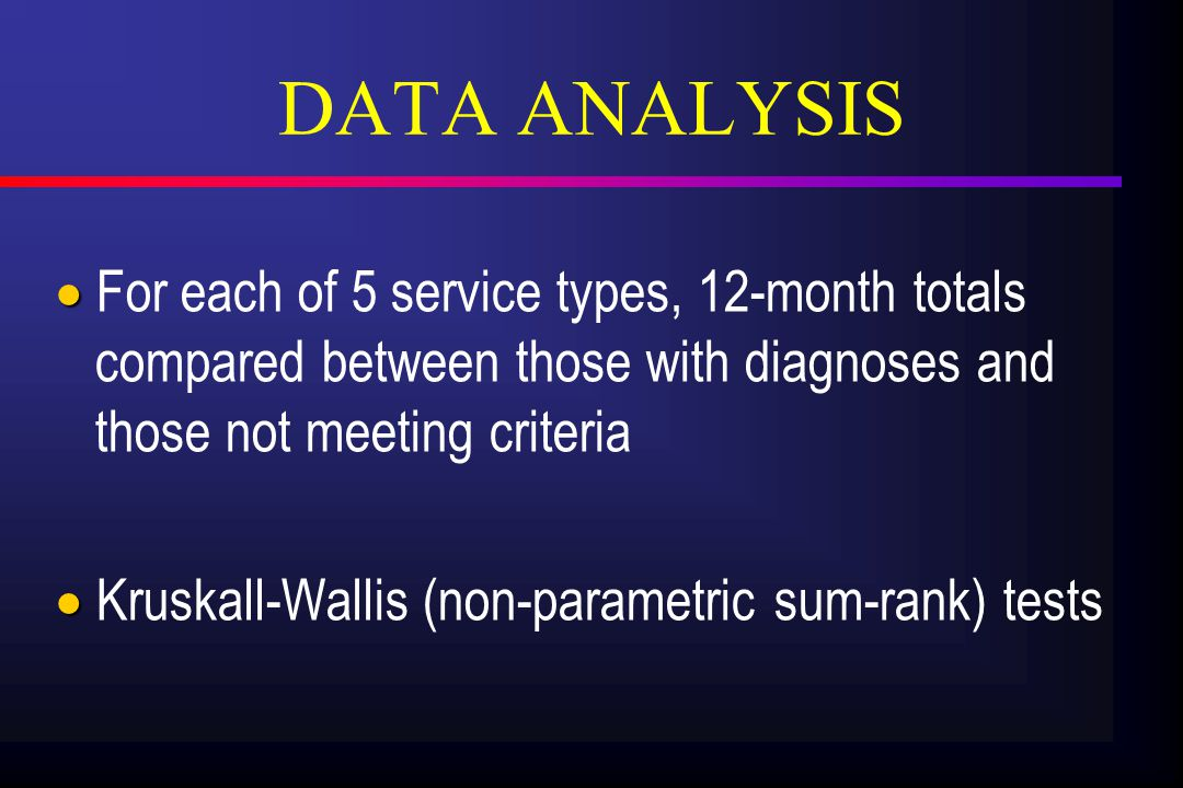 DATA ANALYSIS   For each of 5 service types, 12-month totals compared between those with diagnoses and those not meeting criteria   Kruskall-Wallis (non-parametric sum-rank) tests