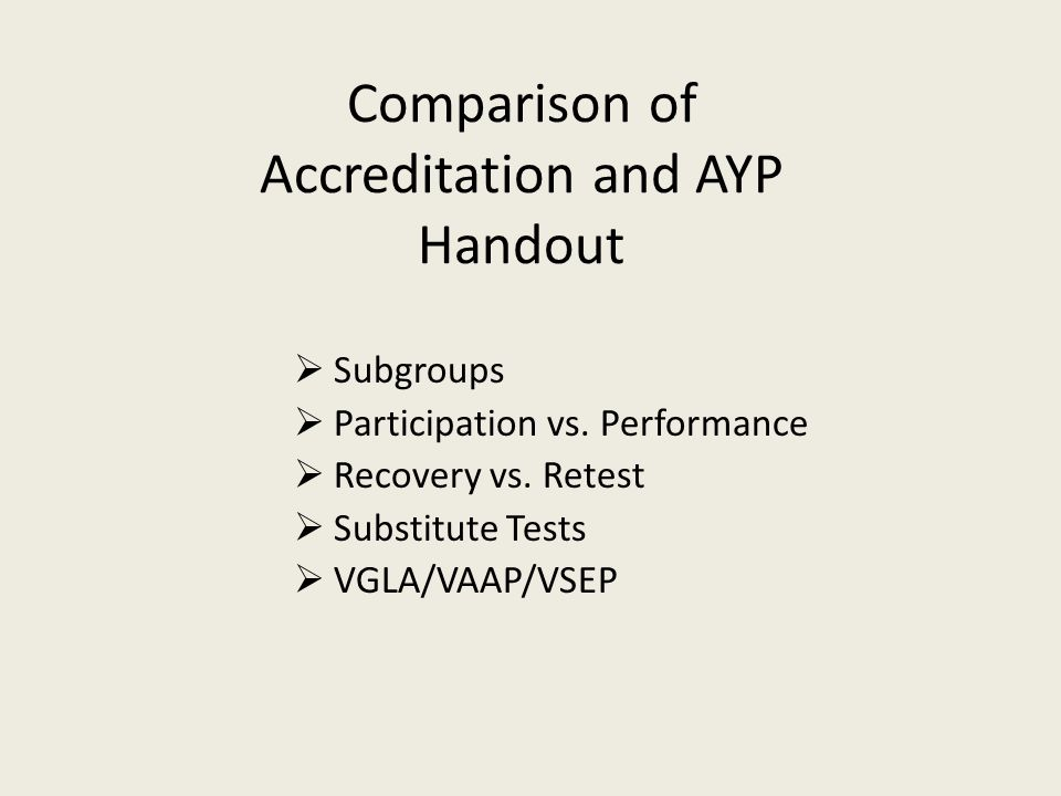 Comparison of Accreditation and AYP Handout  Subgroups  Participation vs.