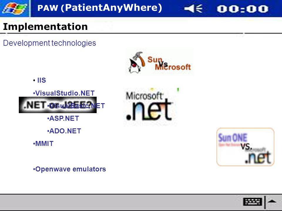 PAW ( PatientAnyWhere) Implementation Development technologies IIS VisualStudio.NET VisualBasic.NET ASP.NET ADO.NET MMIT Openwave emulators