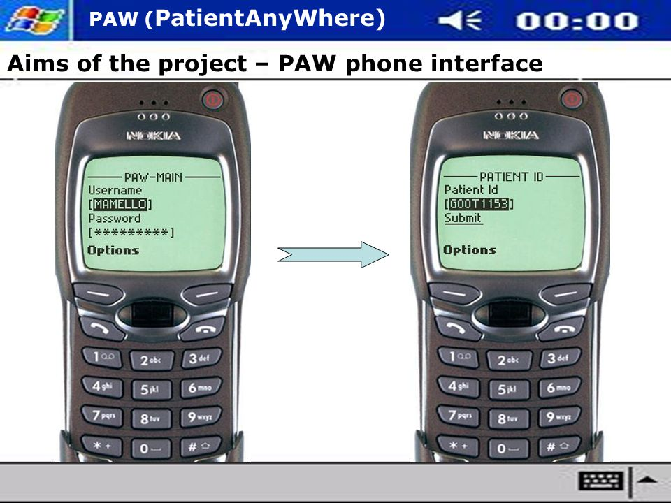 PAW ( PatientAnyWhere) Aims of the project – PAW phone interface