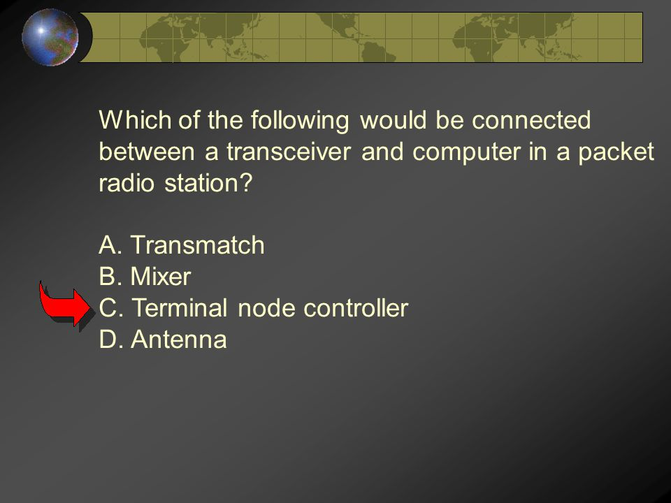 Which of the following would be connected between a transceiver and computer in a packet radio station.