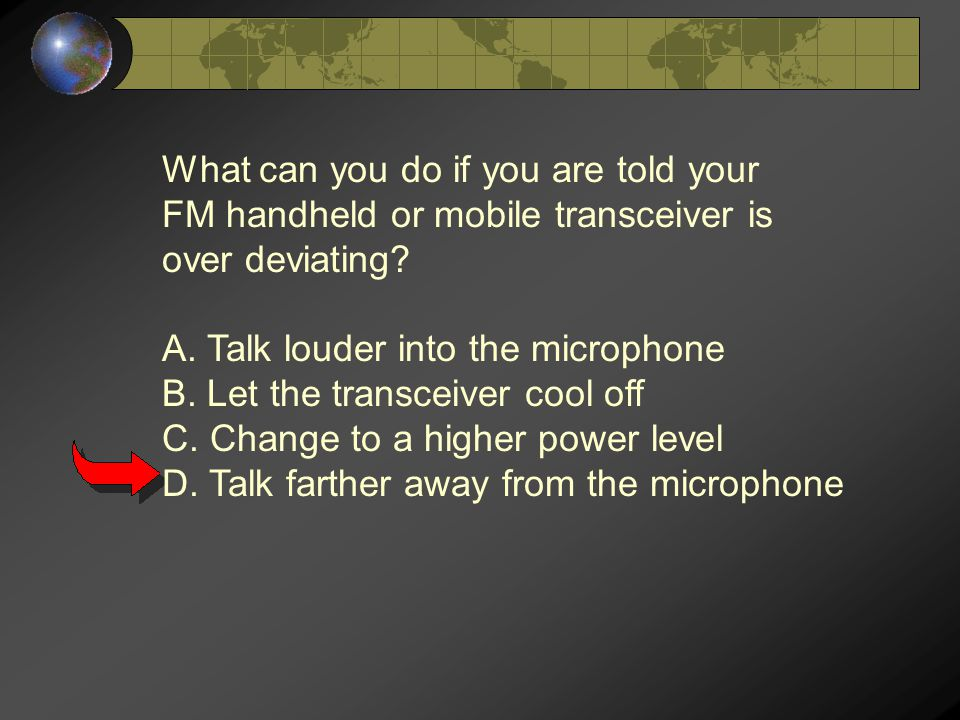 What can you do if you are told your FM handheld or mobile transceiver is over deviating.