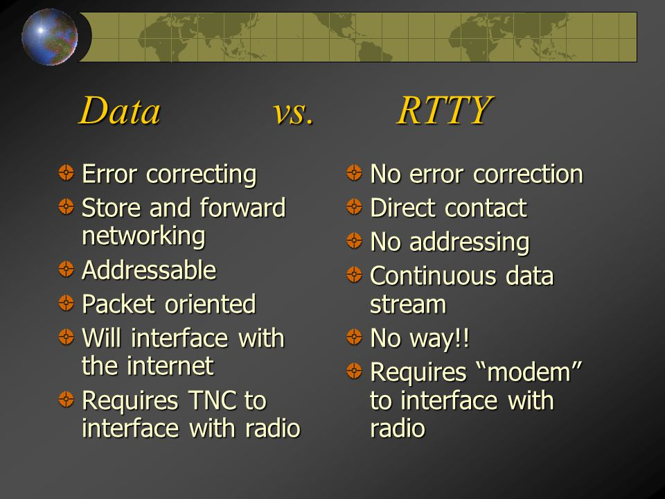 Data vs. RTTY Error correcting Store and forward networking Addressable Packet oriented Will interface with the internet Requires TNC to interface wit