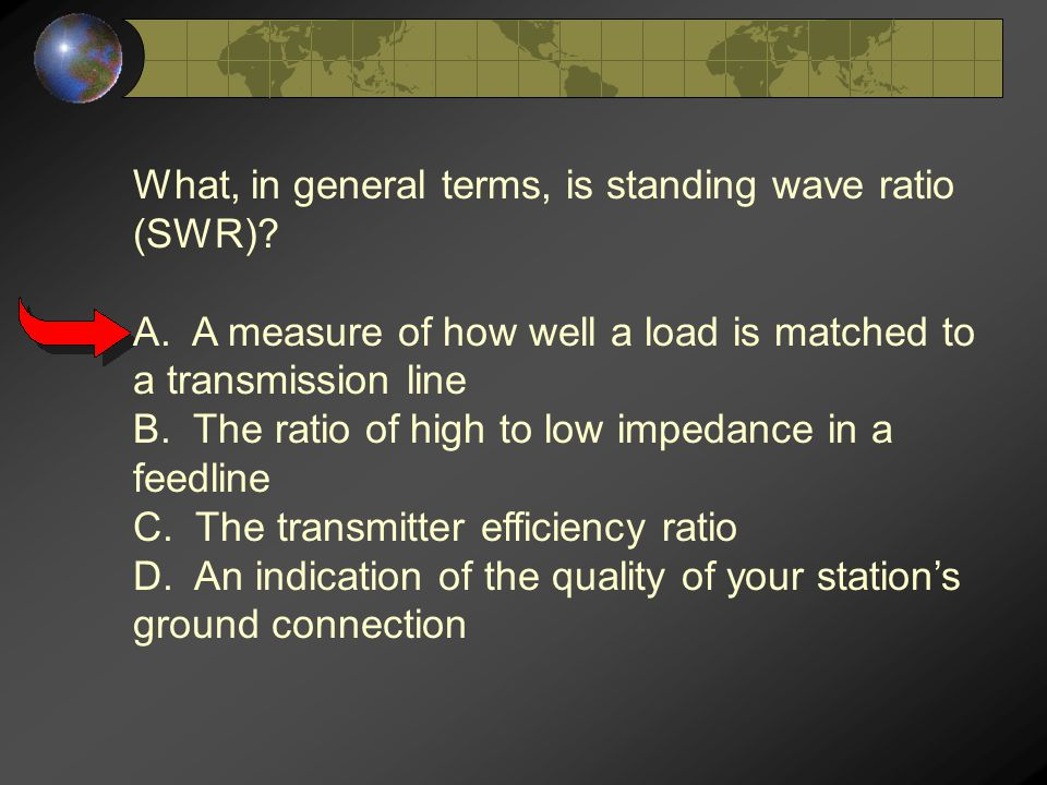What, in general terms, is standing wave ratio (SWR).