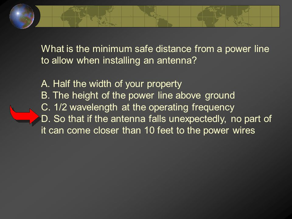 What is the minimum safe distance from a power line to allow when installing an antenna.