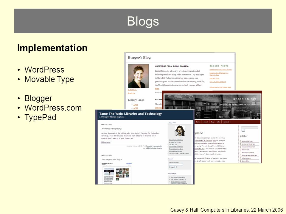 Blogs Implementation WordPress Movable Type Blogger WordPress.com TypePad Casey & Hall, Computers In Libraries.