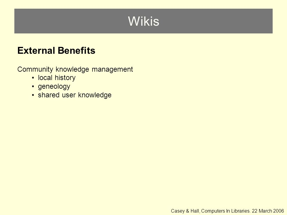 Wikis External Benefits Community knowledge management local history geneology shared user knowledge Casey & Hall, Computers In Libraries.