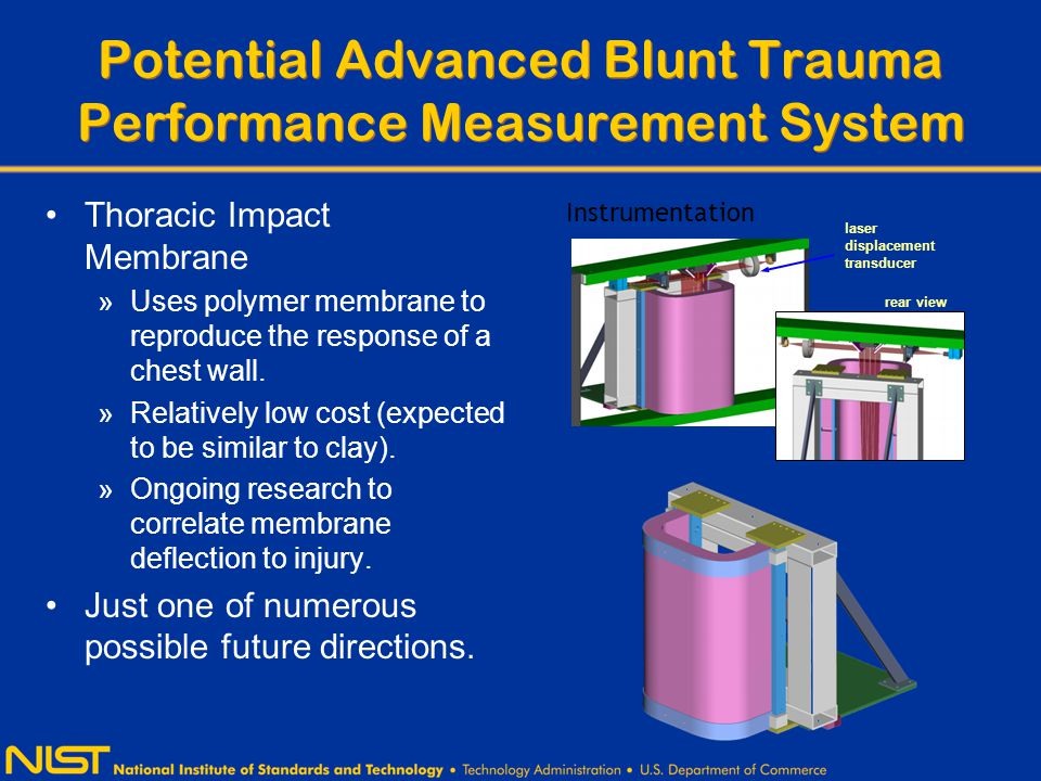 Potential Advanced Blunt Trauma Performance Measurement System Thoracic Impact Membrane »Uses polymer membrane to reproduce the response of a chest wall.