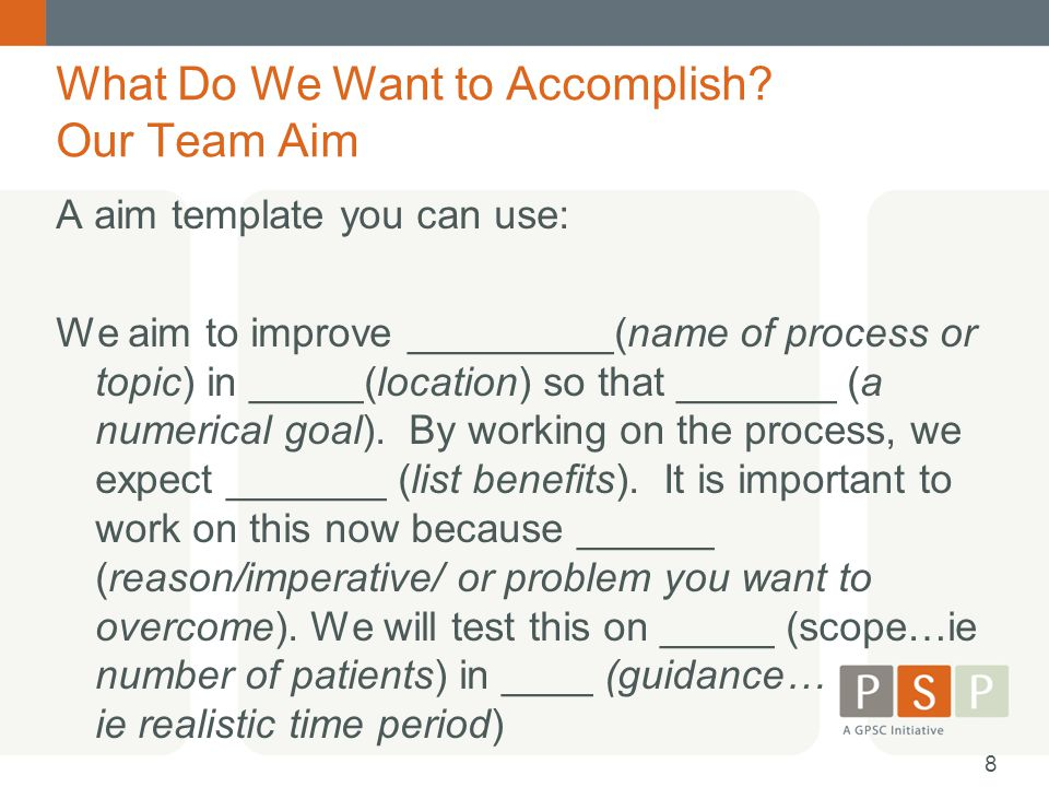 What Do We Want to Accomplish? Our Team Aim A aim template you can use: We aim to improve _________(name of process or topic) in _____(location) so th
