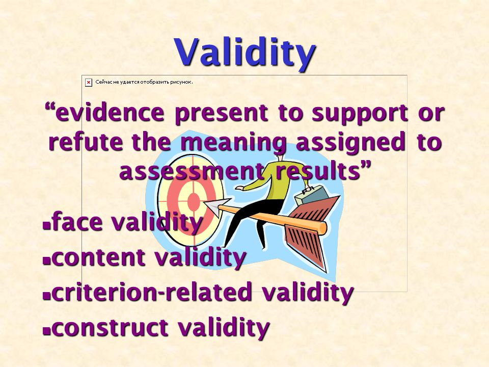 "Validity ""evidence present to support or refute the meaning assigned to assessment results"" face validity face validity content validity content valid"