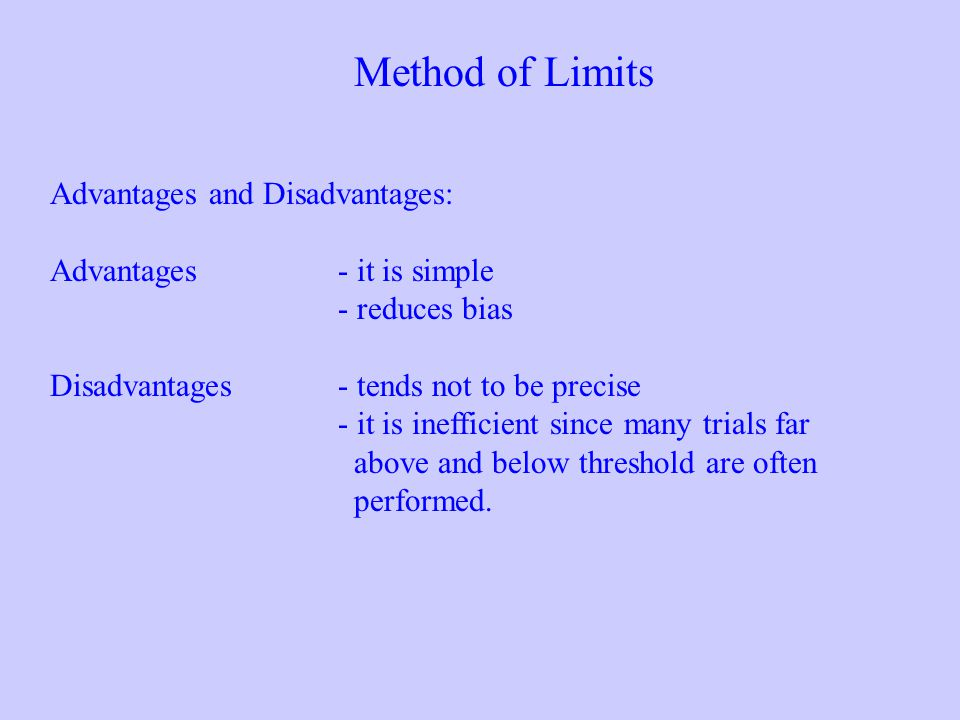 Advantages and Disadvantages: Advantages- it is simple - reduces bias Disadvantages- tends not to be precise - it is inefficient since many trials far