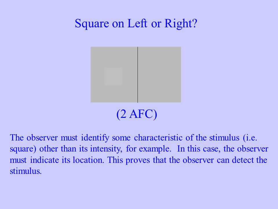 Square on Left or Right? The observer must identify some characteristic of the stimulus (i.e. square) other than its intensity, for example. In this c