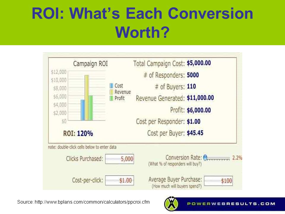 ROI: What's Each Conversion Worth? Source: http://www.bplans.com/common/calculators/ppcroi.cfm