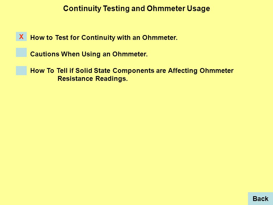 How to Test for Continuity with an Ohmmeter. Cautions When Using an Ohmmeter.