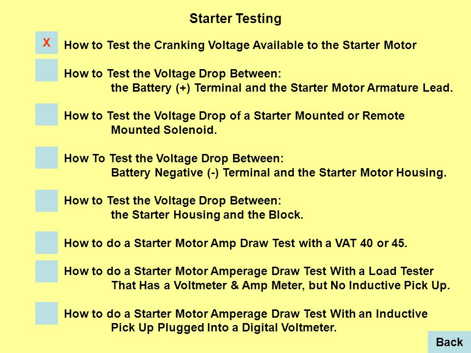 Starter Testing How to Test the Cranking Voltage Available to the Starter Motor How to Test the Voltage Drop Between: the Battery (+) Terminal and the Starter Motor Armature Lead.